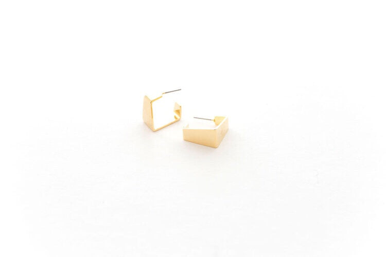 Geometric Gold Plated Hoop Studs