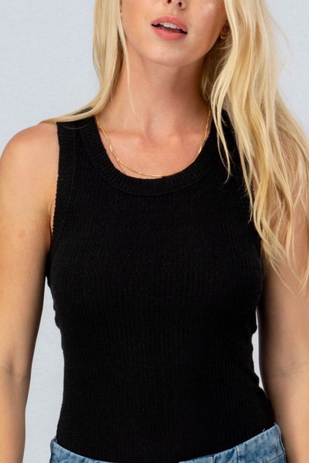 High Neck Cotton Ribbed Tank in Black