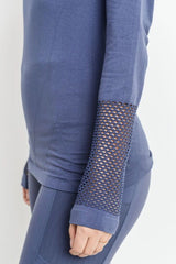 Fishnet Triangle Back Long Sleeve Top in Deep Blue Grey