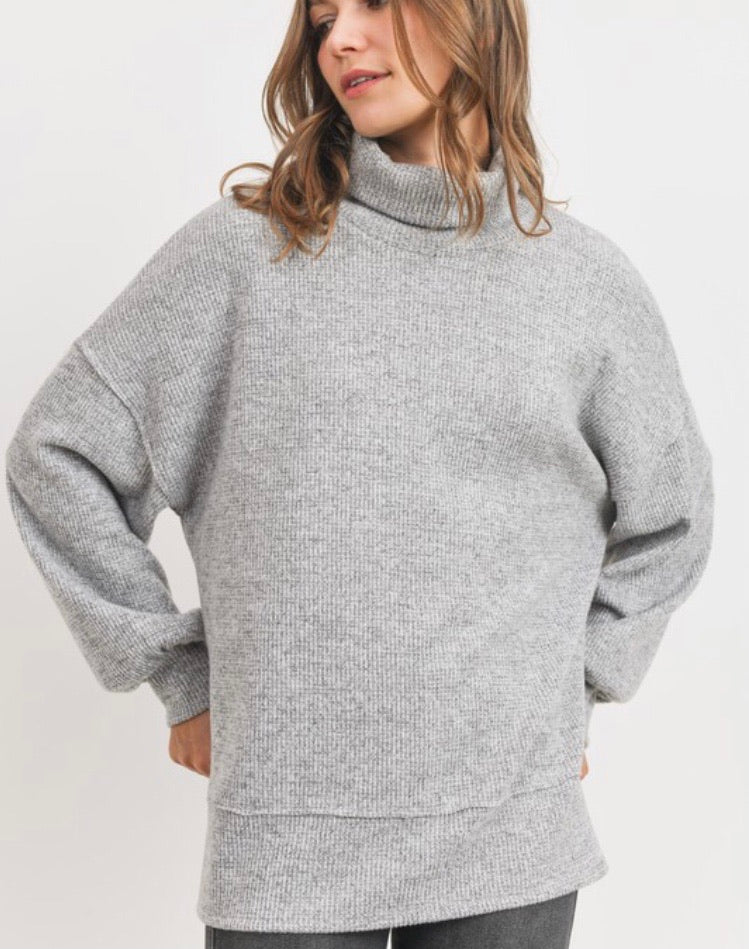 Josie Thermal Turtleneck in Grey