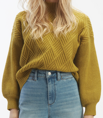 Mock Neck Fence Sweater in Moss