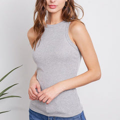High Neck Cotton Ribbed Tank in Grey
