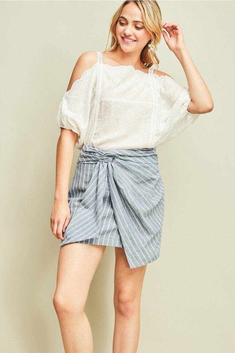 Denim Pinstriped Lightweight Skirt
