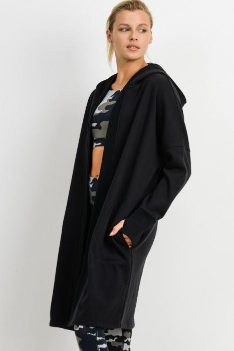 Bethany Open Front Longline Hooded Cardigan in Black