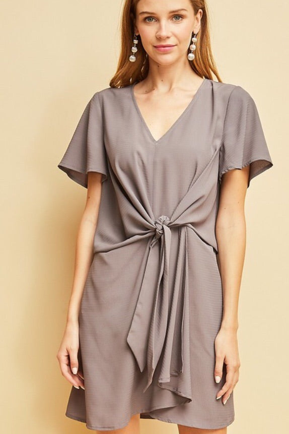 Tie Waist Dress in Charcoal Mauve