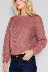 Chunky Cable Knit Sweater in Mauve