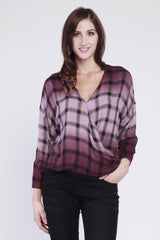 Shane Overdyed Plaid Surplus Shirt in Perfect Plum