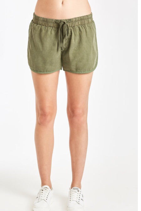 Gwen Side Slit Short in Olive