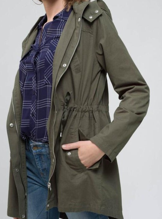 Claire Long-Lined Utility Jacket in Olive