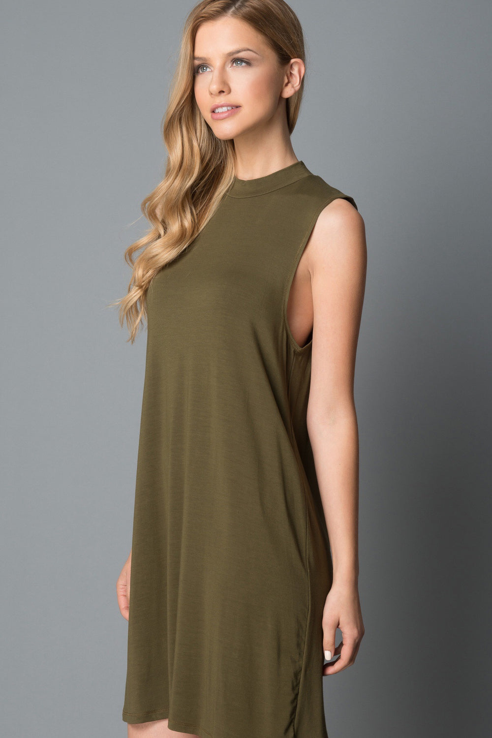 Noelle Sleeveless Mockneck Dress in Olive