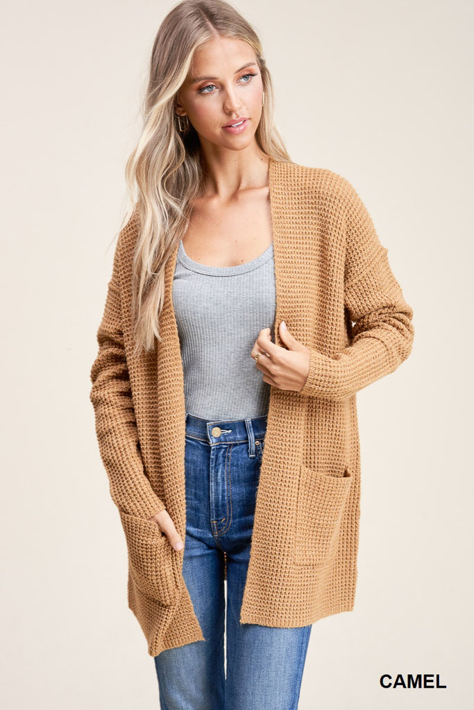 Open Front Waffle Cardigan in Taupe