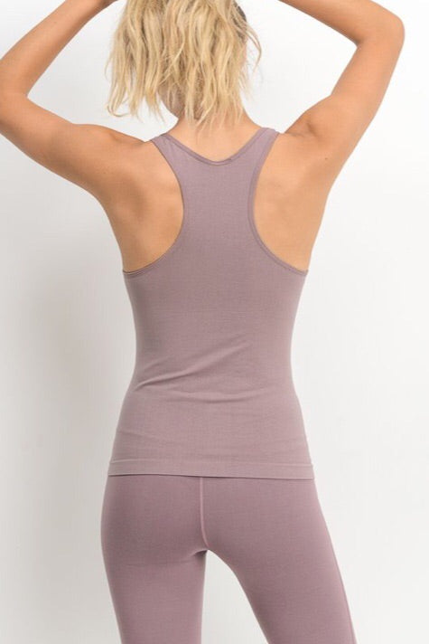 Essential Seamless Racerback Tank in Mauve