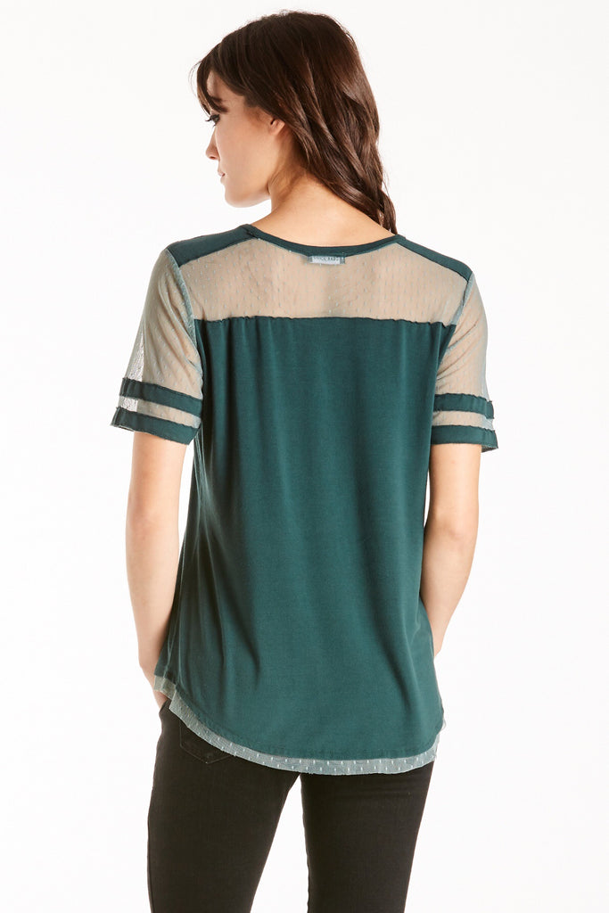 Stella Lace Mix Tee in Green