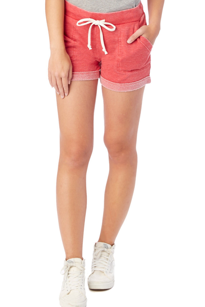 Burnout French Terry Shorts in Red