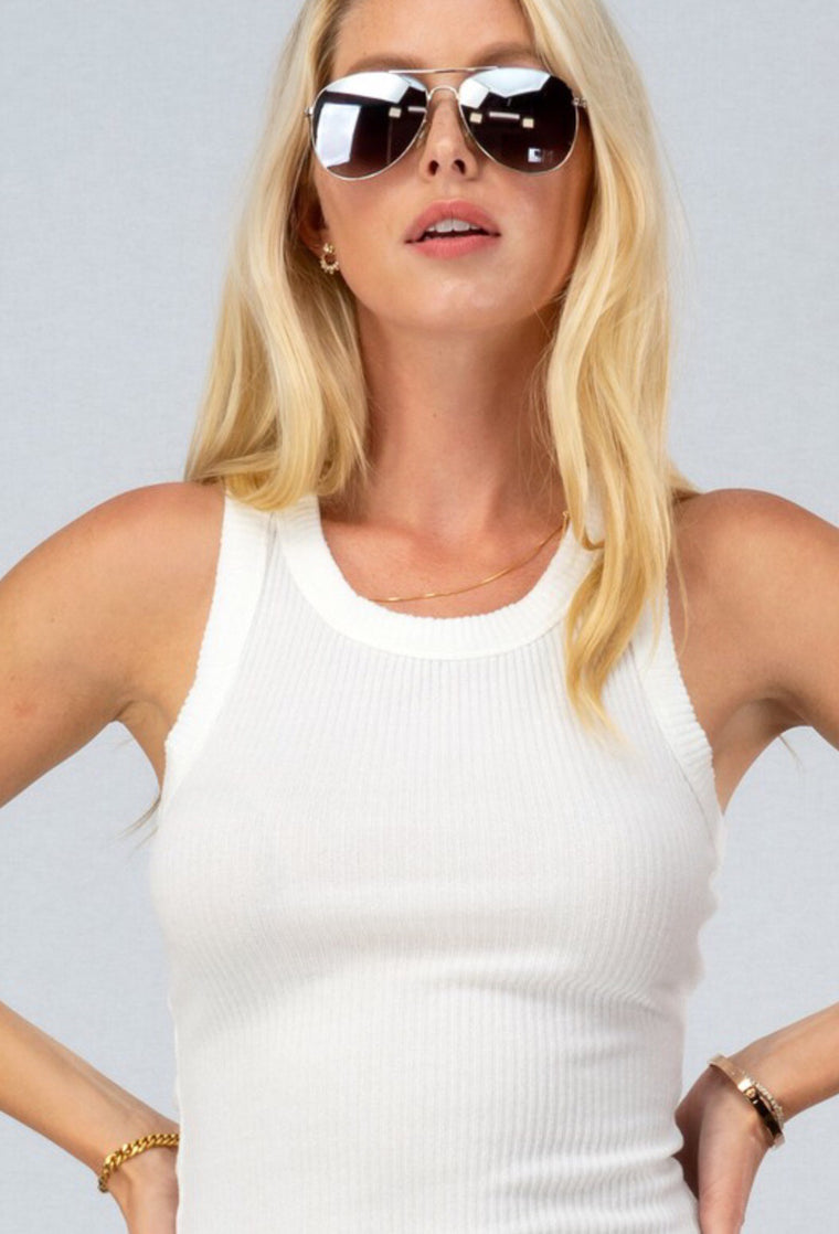 High Neck Cotton Ribbed Tank in White