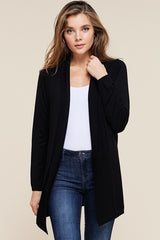Open Front Ribbed Cardigan in Black