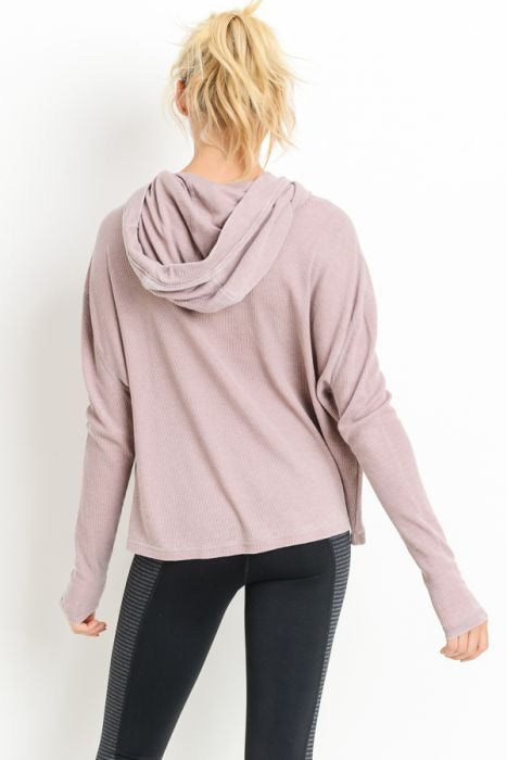 Thermal Edit-Length Boxy Hoodie Sweatshirt In Dusty Pink
