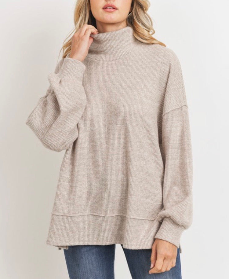 Josie Thermal Turtleneck in Taupe