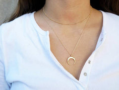 Long Crescent Moon Necklace