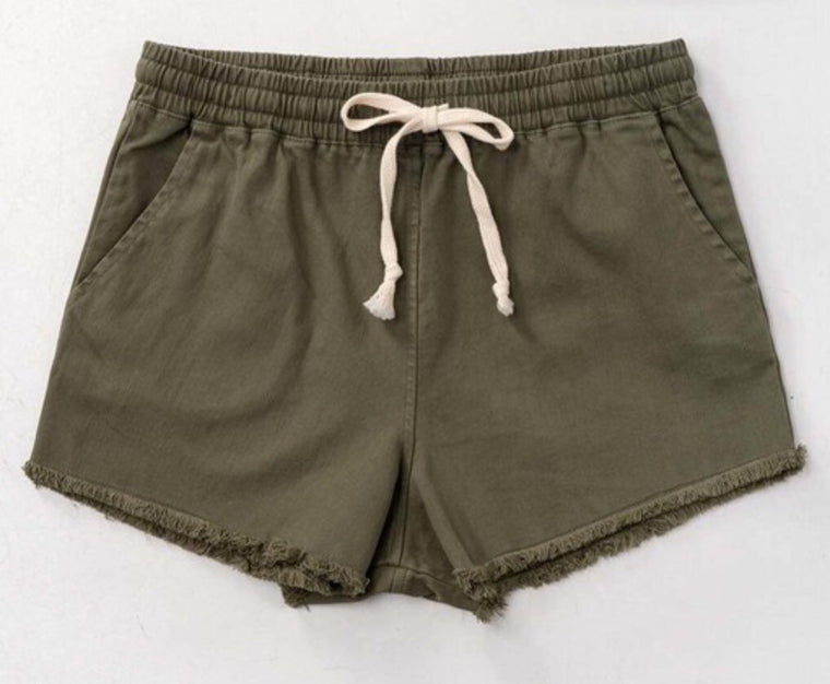 Olive Drawstring Raw Hem Short