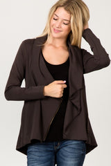 Jersey Cowl Neck Zip-Up Jacket in Charcoal