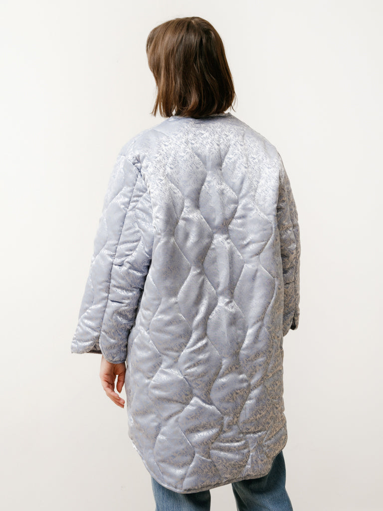 quilted jacket - baby blue floral