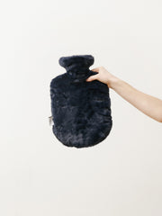 hot water bottle - faux fur navy