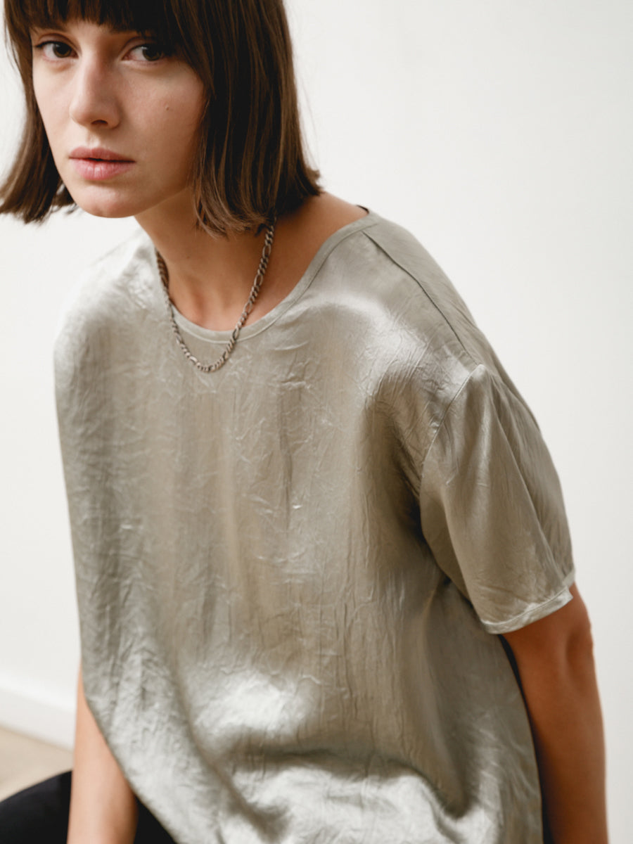 tage tee - crushed slinky silver
