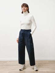 pleat trouser - canvas navy