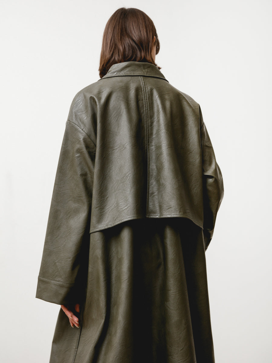 bell jacket - vegan leather green