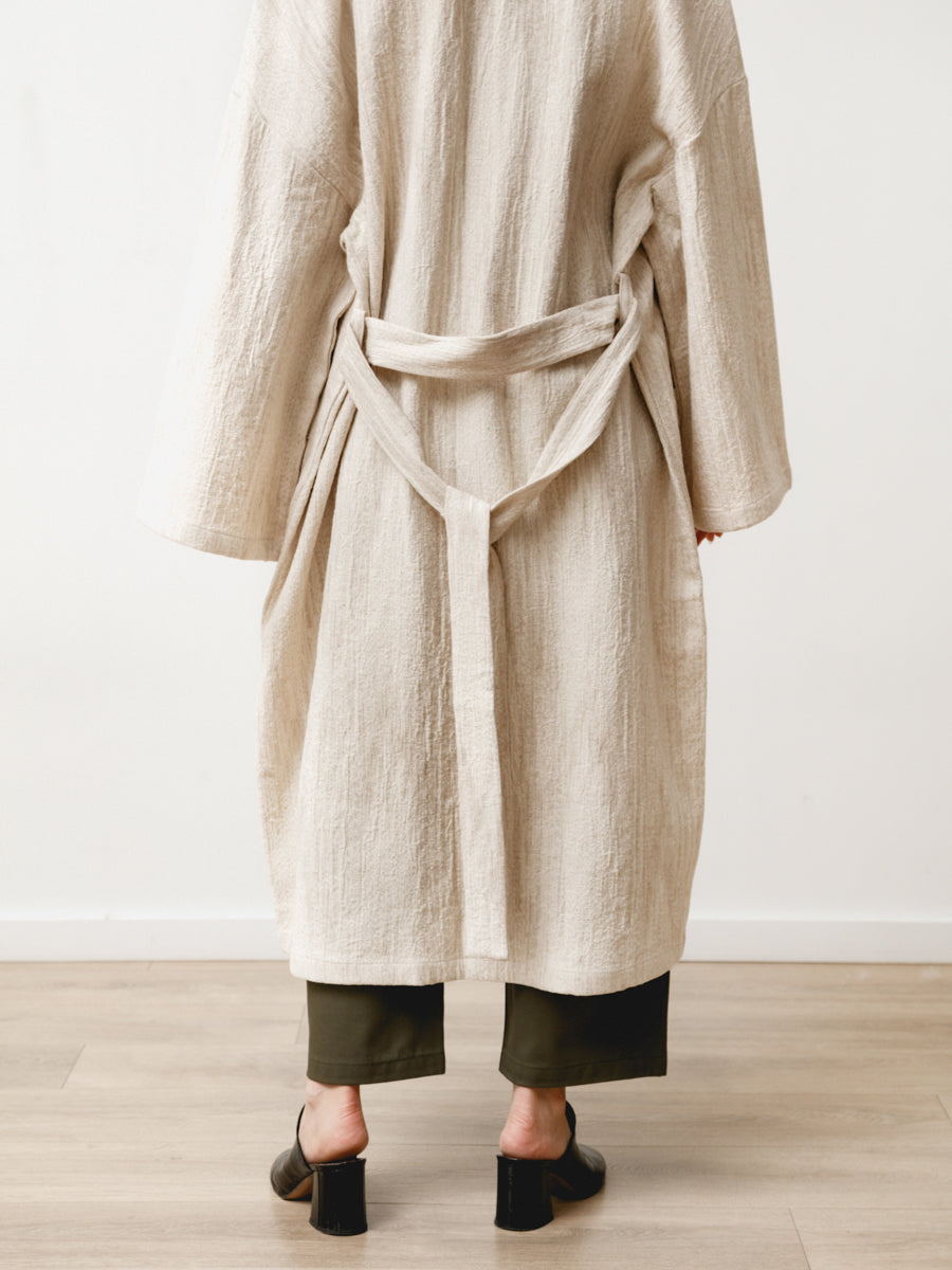 fan robe - natural jacquard cream