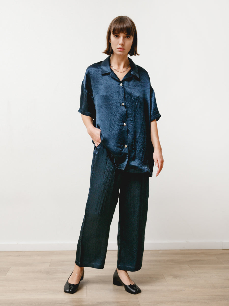 vista pant - crushed slinky navy
