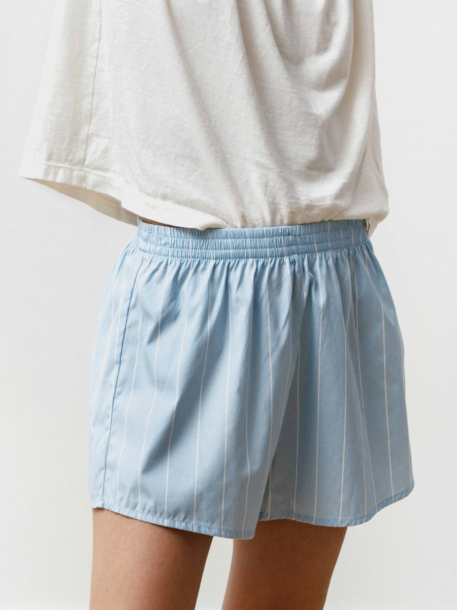 Running Short - Striped Poplin Baby Blue/White