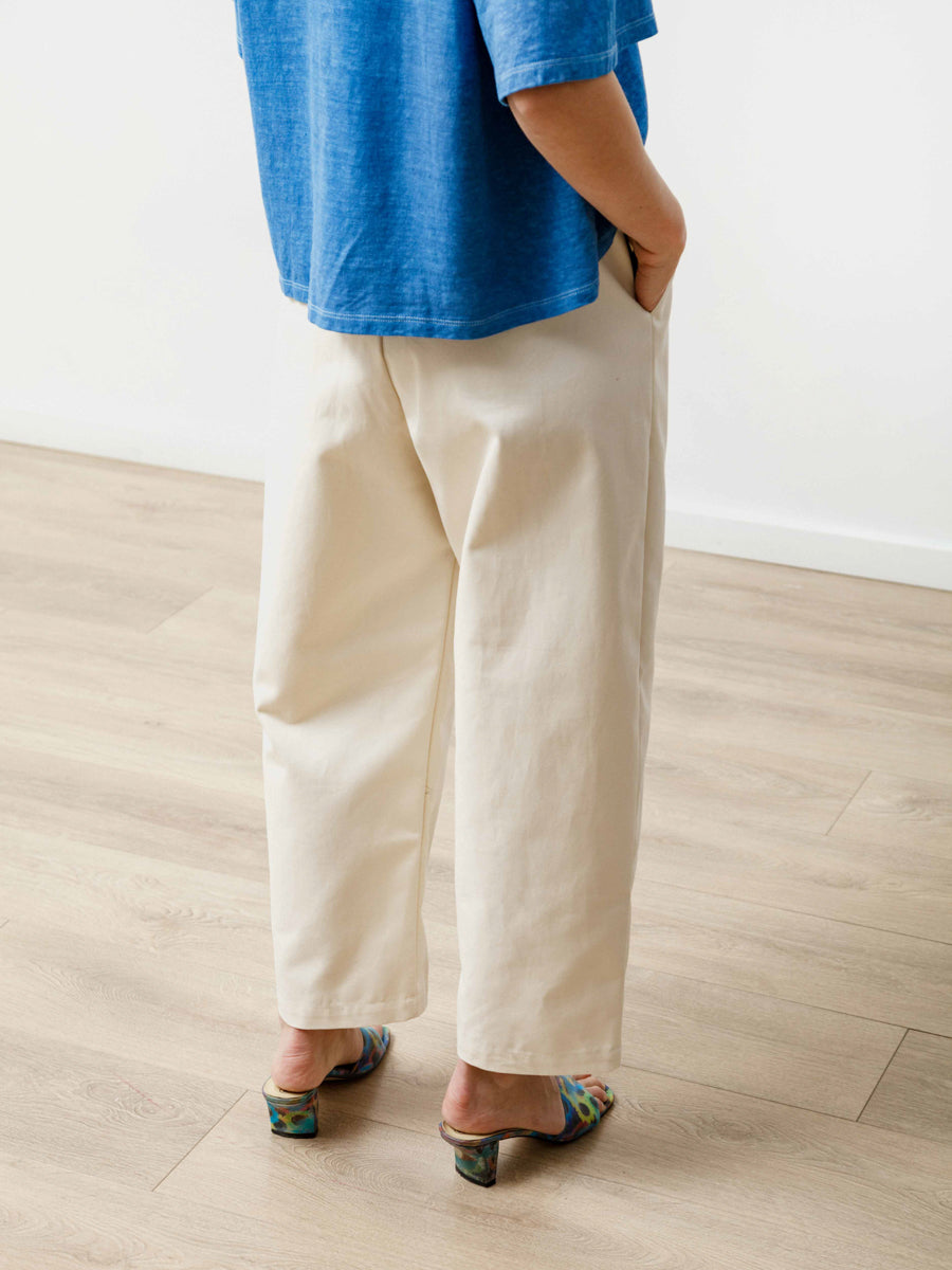 Pleat Trouser - Canvas Natural