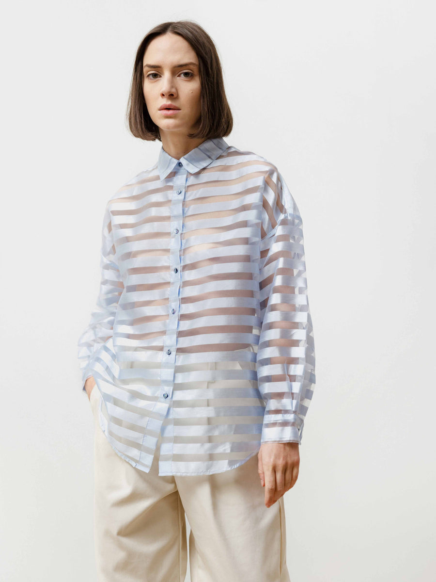 Manga Shirt - See Thru Stripe Baby Blue