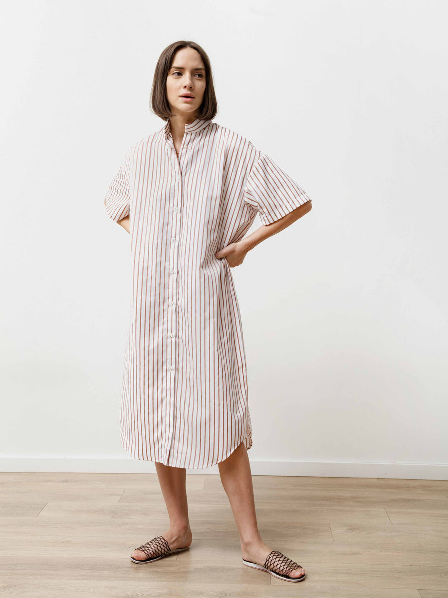Tenn Dress - Striped Poplin Nude/White