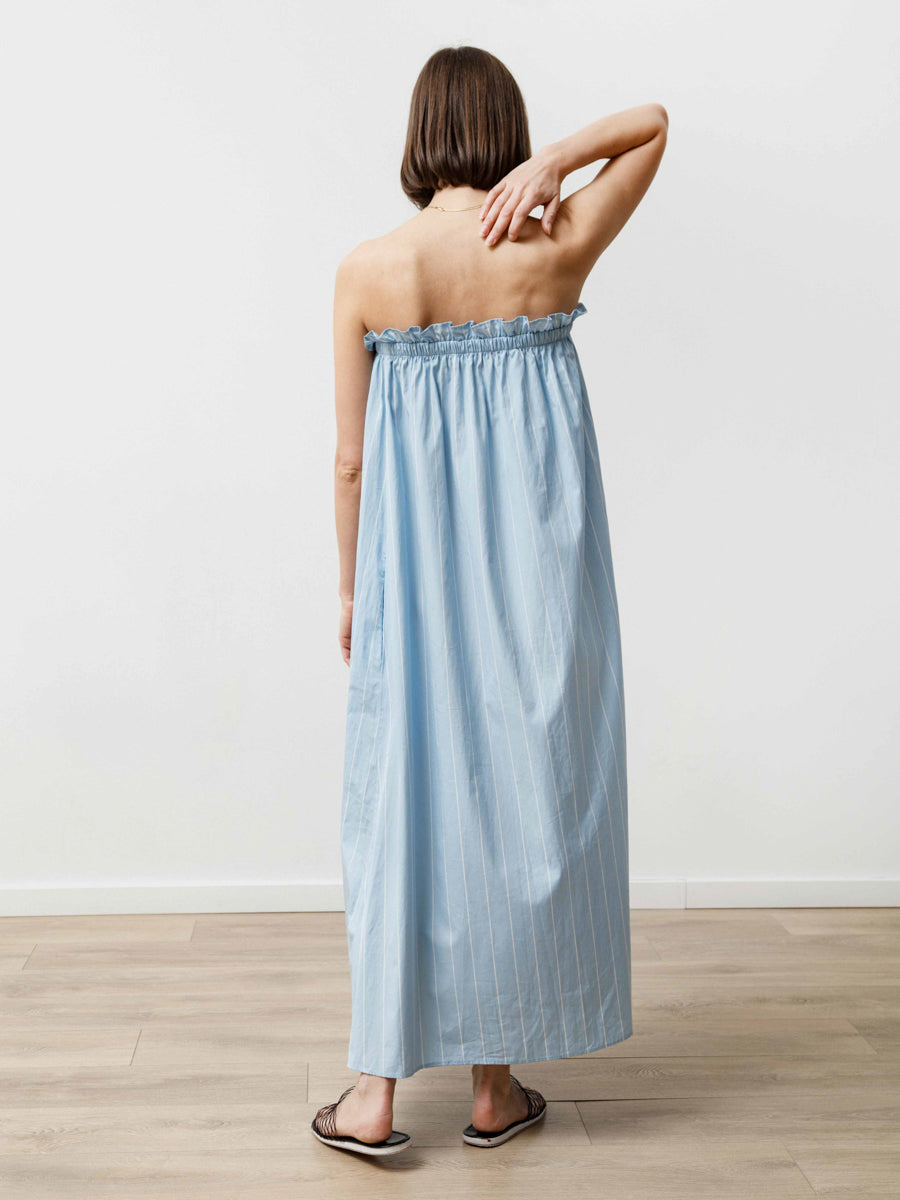 Tube Dress - Striped Poplin Baby Blue/White