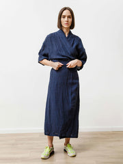 Uto Wrap Dress - Crinkle Linen Indigo