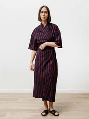 Uto Wrap Dress - Striped Poplin Navy/Wine