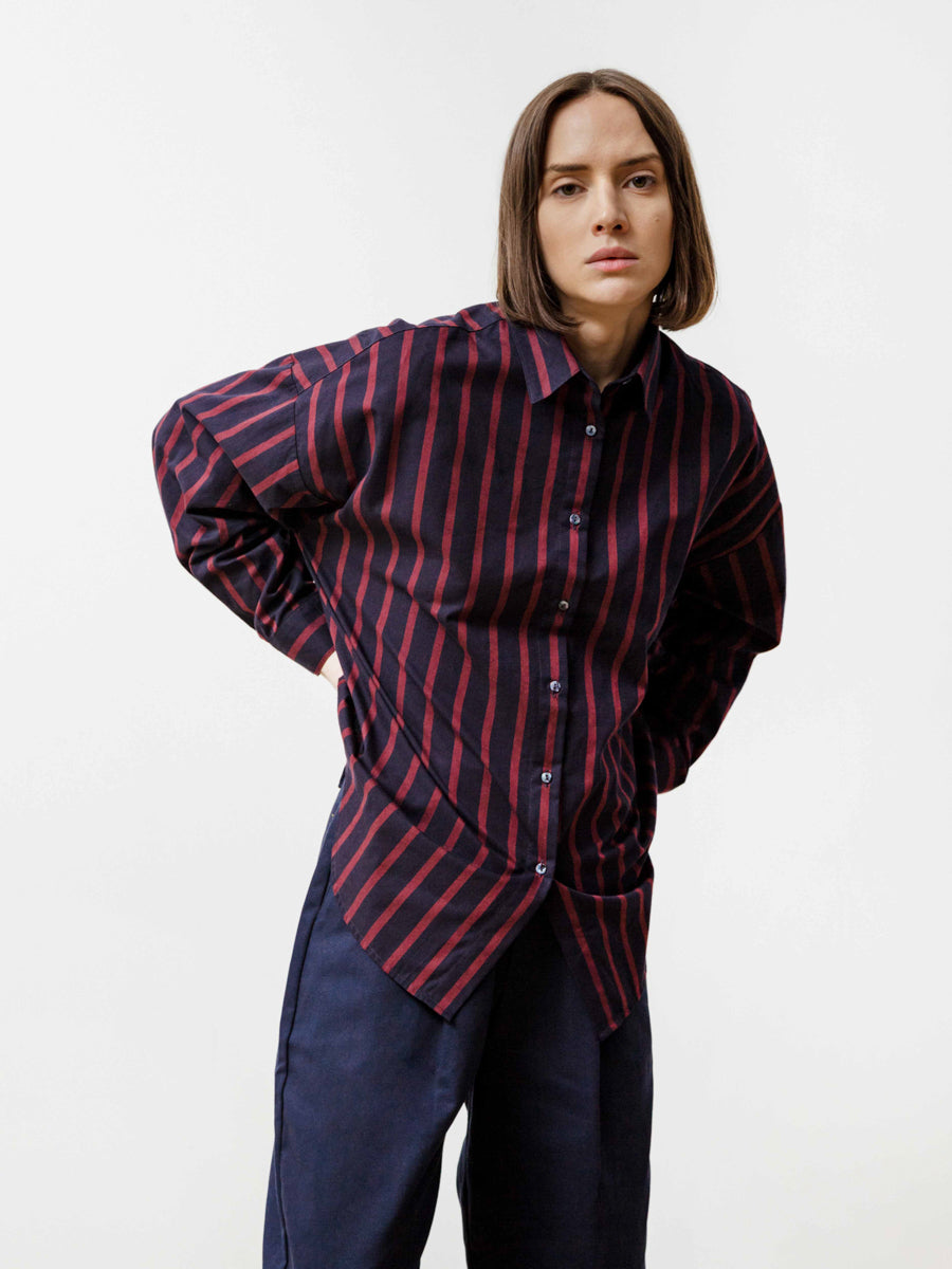 Manga Shirt - Striped Poplin Navy/Wine