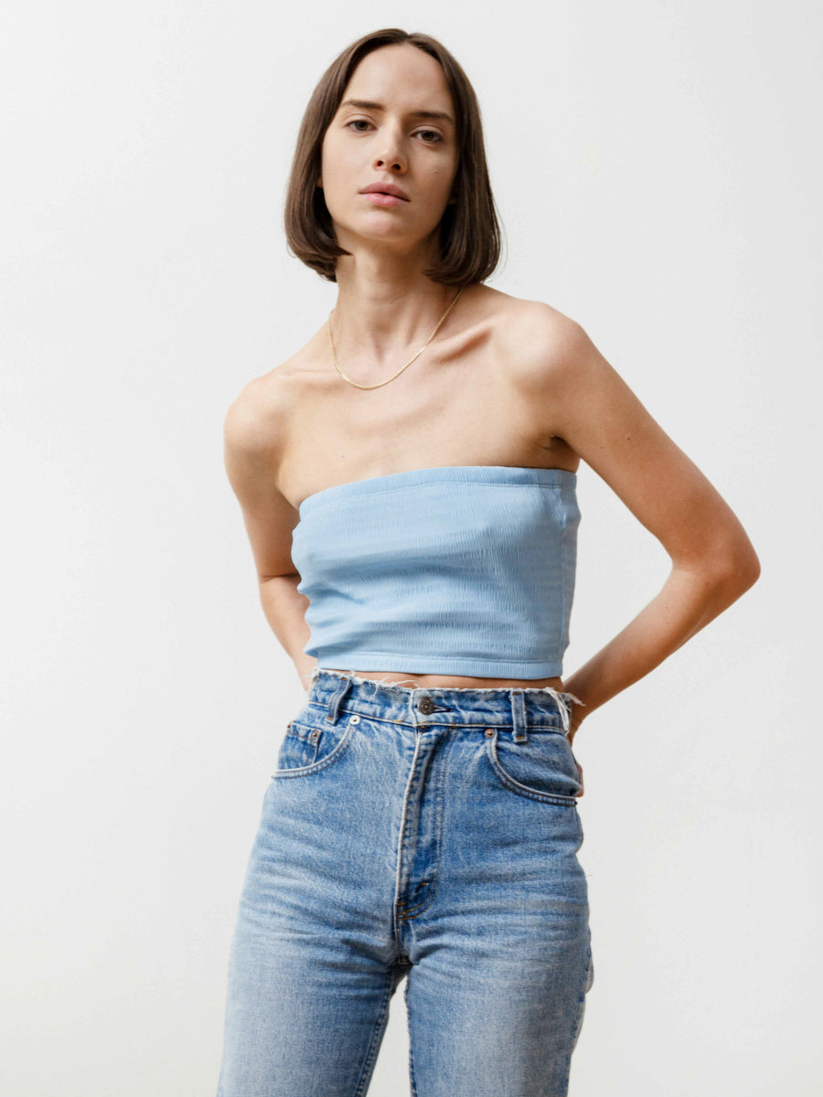 Tube Top - Pleated Chiffon Baby Blue