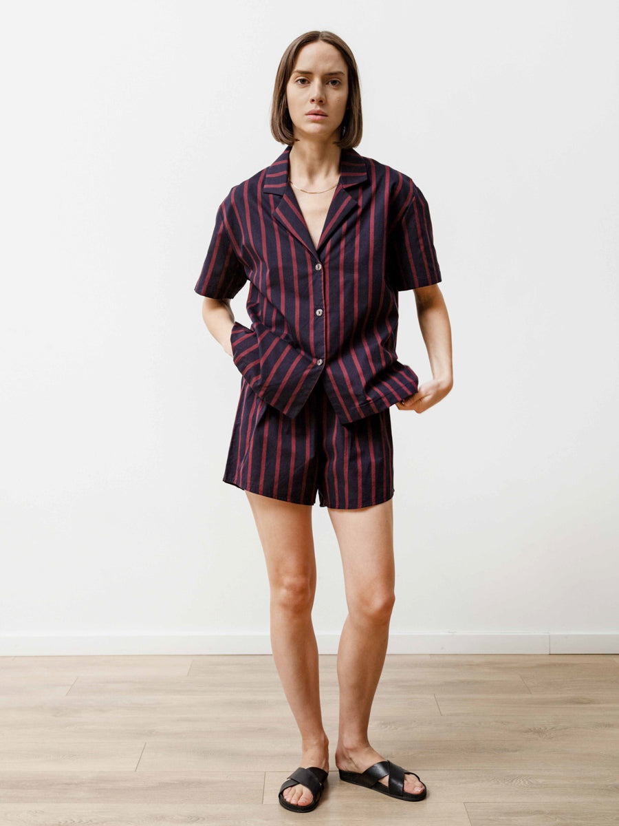 Bowling Shirt - Striped Poplin Navy/Wine