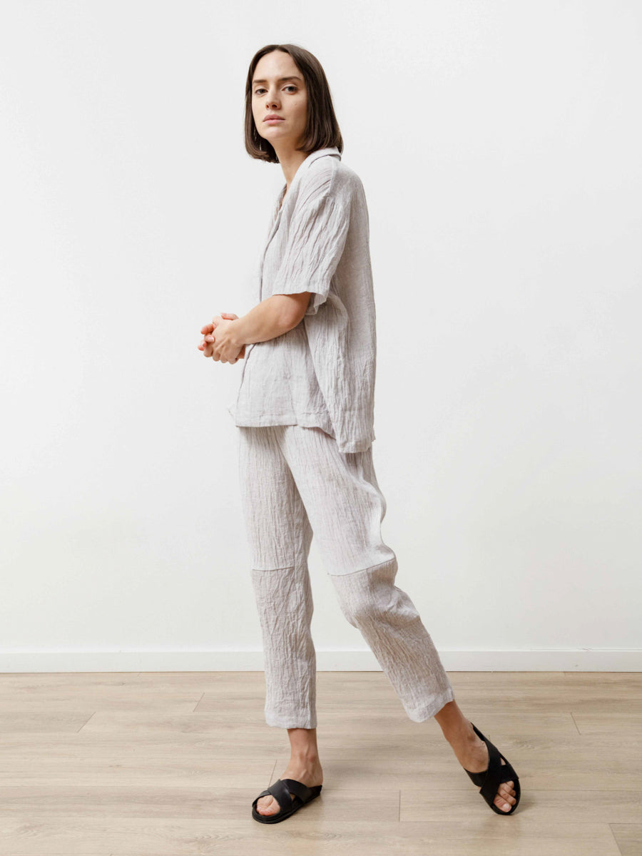 Bowling Shirt - Crinkle Linen Silver