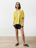 Bowling Shirt - Pleated Chiffon Sunshine Yellow