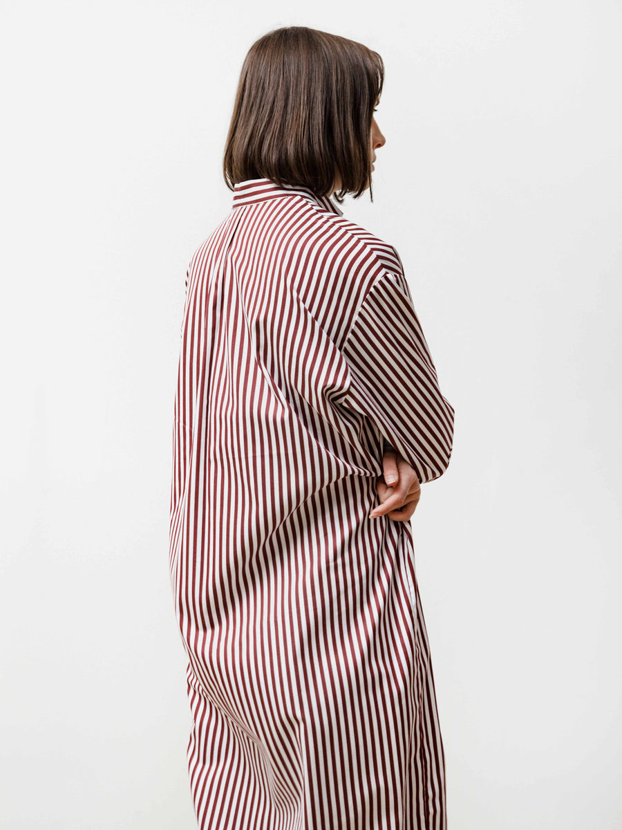 aise dress - striped poplin red/white