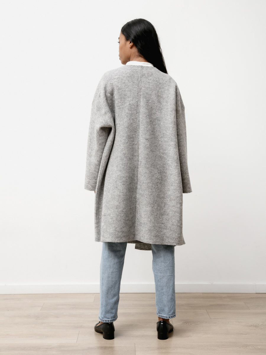 Ura Coat - Boiled Wool Heather Grey