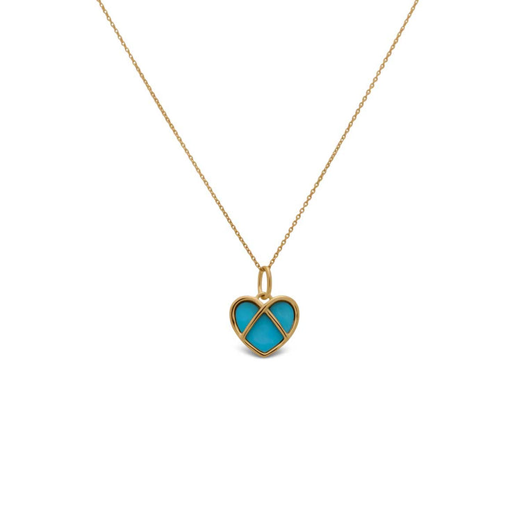 CAGED heart pendant with turquoise