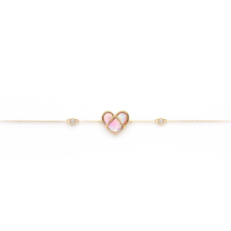 CAGED heart Bracelet with mother of pearl