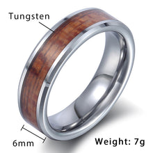 Tungsteno Carbide Silver Brown Wood