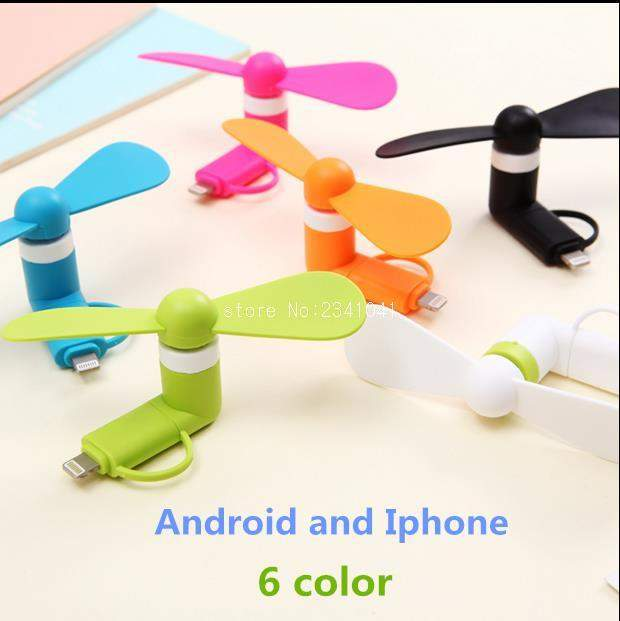 Mini 2 in 1 Portable Micro USB Fan For iPhone 5 and 6